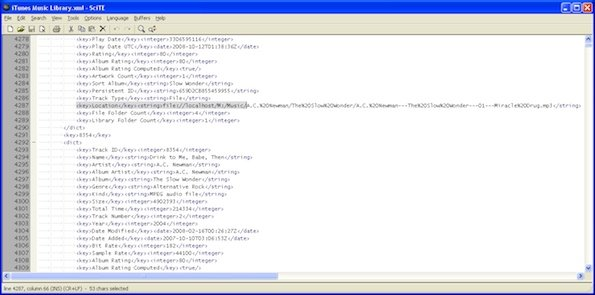 Screen capture of iTunes XML file