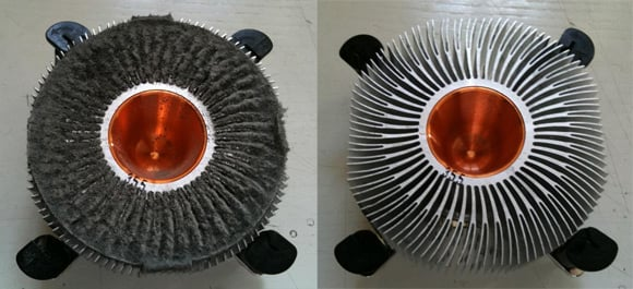 Intel Core 2 cooler before and after removal of dust
