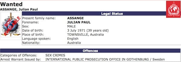 Partial screenshot of Assange arrest notice