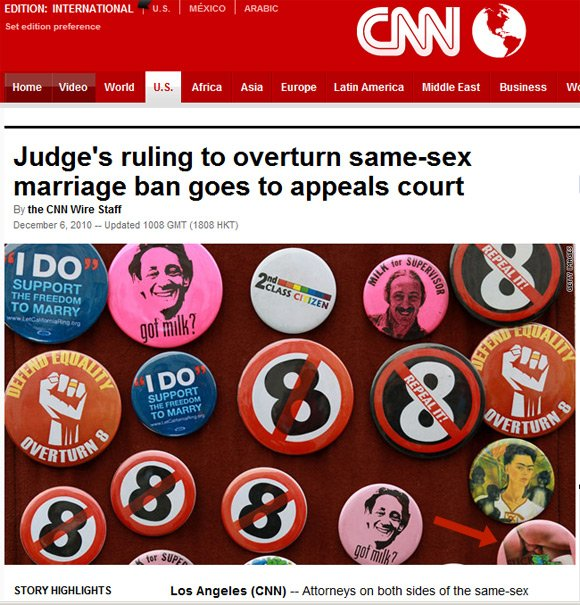 CNN website grab showing gay campaigning badges, one with male member