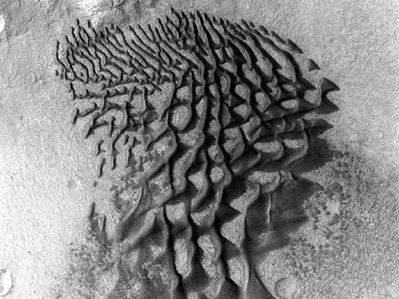 Odyssey image of sand dunes in the Bunge Crater. Pic: NASA