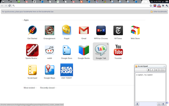 Chrome OS home screen