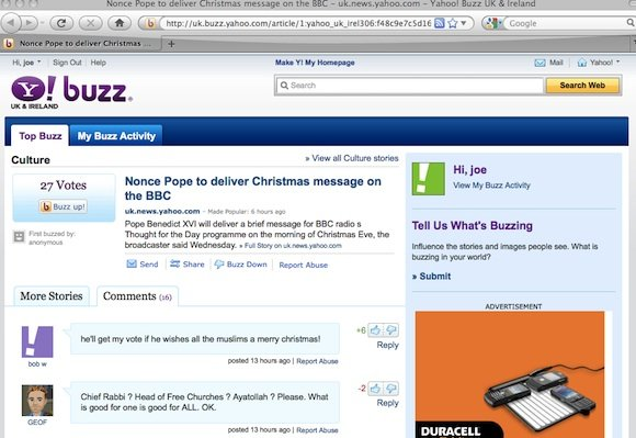 Yahoo! buzzes pope