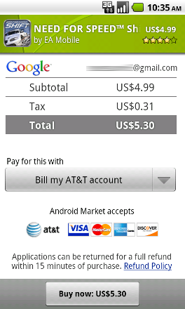 Google Market Screen Shot