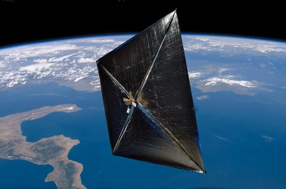 NASA concept of the NanoSail-D with sails deployed in orbit