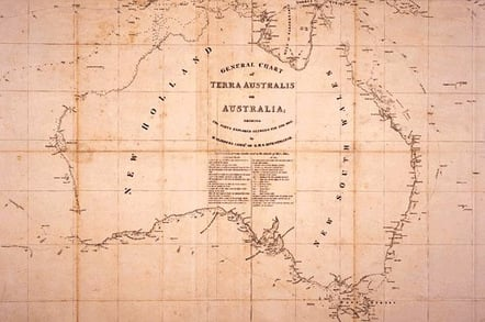 Flinders map of Australia as published in 1814