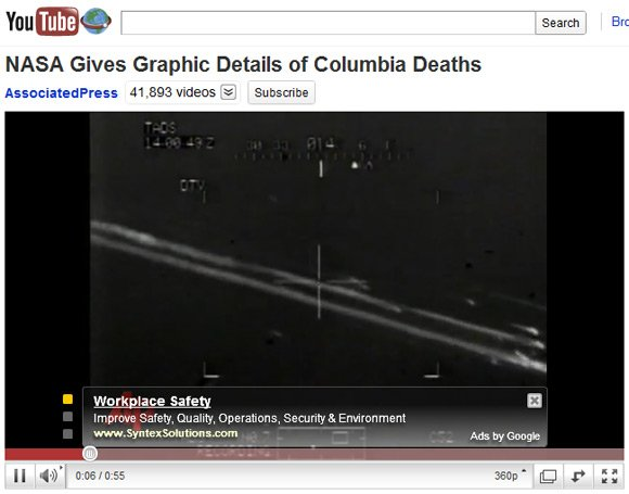 "Grab of Associated Press YouTube report on Challenger disaster, showing ad for ""Workplace Safety"""