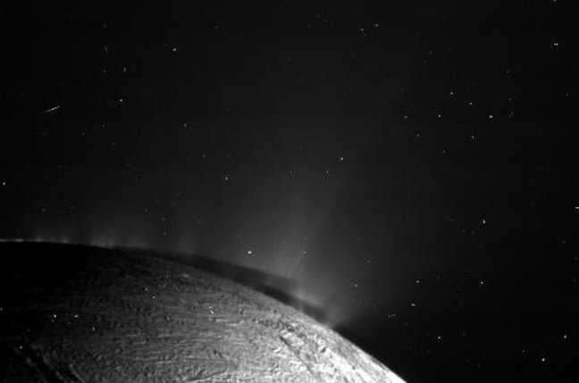 The famous jets erupting from the south polar terrain of Enceladus. Credit: NASA/JPL/SSI