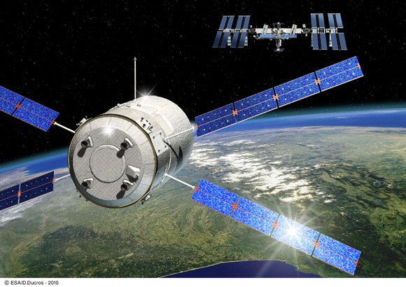 Artist's impression of the ATV creeping up on the ISS. Pic: ESA - D. Ducros