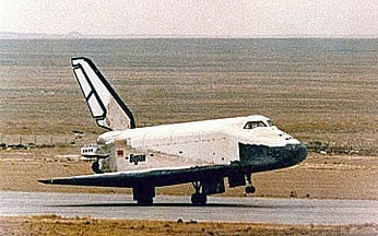 The Soviet 'Buran' spaceplane makes its unmanned touchdown at Baikonur. Credit: NASA
