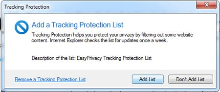 IE9 RC Tracking Protection