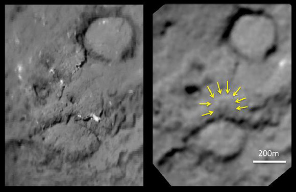 Before and after comparison of the Deep Impact impactor site. Pic: NASA