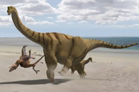 Artist's impression of thunder-thighs kicking a lesser dinosaur into touch. Pic: UCL