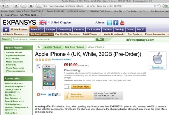 expansys white iphone 4