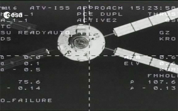 The Johannes Kepler approaching the ISS earlier today