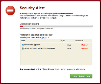 Screen capture of Rogue AV ad spoofing Google Chrome
