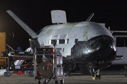 The first X-37B following landing at Vandenberg AFB after the inaugural OTV-1 mission. Credit: USAF