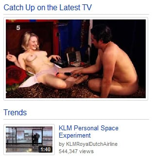 YouTube's Latest TV box, showing naked couple
