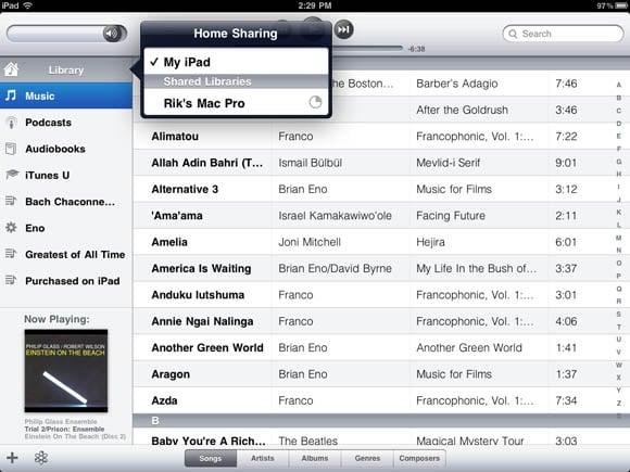 iTunes Home Sharing in iOS 4.3 on an iPad