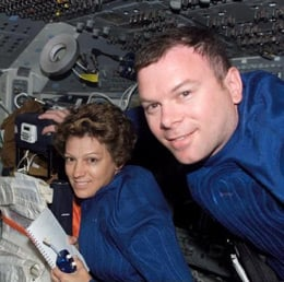 Eileen Collins with pilot James Kelly during STS-114. Pic: NASA