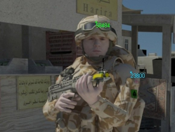 EPSRC press pic captioned 'Soldier looking towards you, in a fictitious but realistic urban, desert environment, the superimposed numbers are readings for anticipated sunlight'
