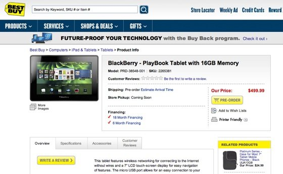 RIM PlayBook at Best Buy