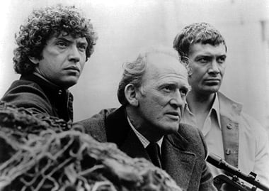Still from The Professionals. From left to right: Martin Shaw, Gordon Jackson and Lewis Collins