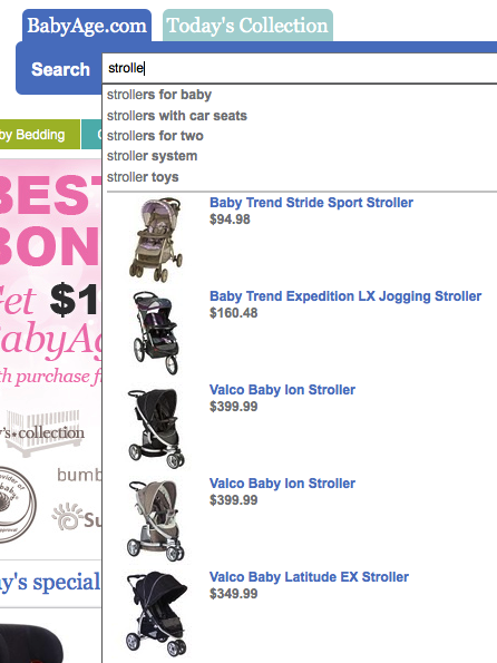 BabyAge with Google Commerce Search