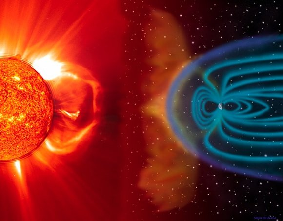 A coronal mass ejection strikes the Earth's magnetic field. credit: NASA