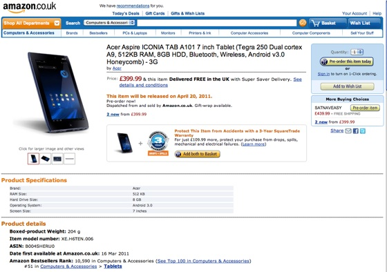 Acer Iconia A100 at Amazon.co.uk