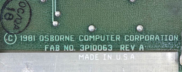 Osborne 1, second version - logic-board label