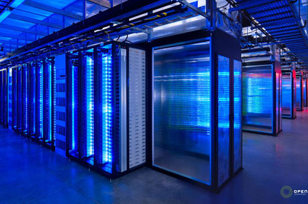 Facebook data center - interior, lit up