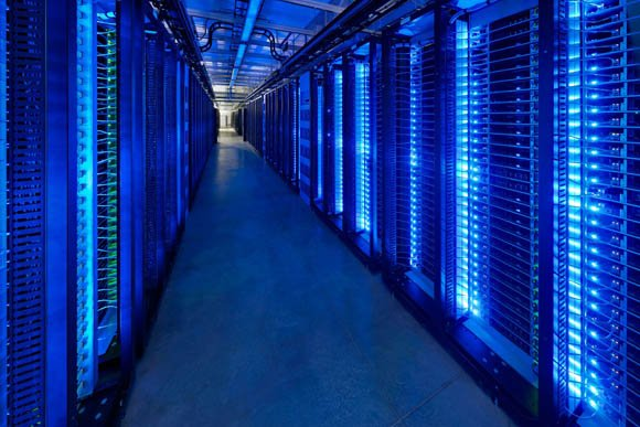 Facebook data center - interior, lit up