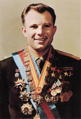 Yuri Gagarin poses with his Soviet Union decorations