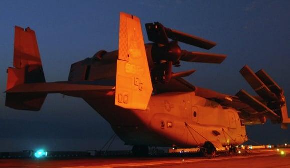 A V-22 Osprey folded on the deck of USS Wasp. Credit: US Navy/Mass Communication Specialist 2nd Class Zachary L Borden