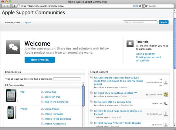 Apple Support Communities screenshot