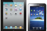9.7-inch Apple iPad 2 (left) and 7-inch Samsung Galaxy Tab (right)