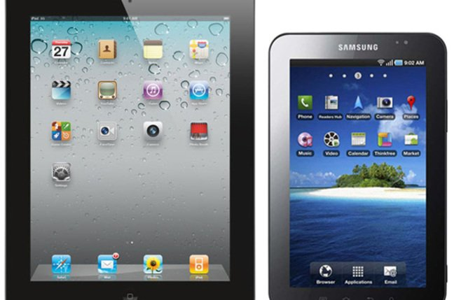 9.7-inch Apple iPad 2 (left) and 7-inch Samsung Galaxy Tab (right)