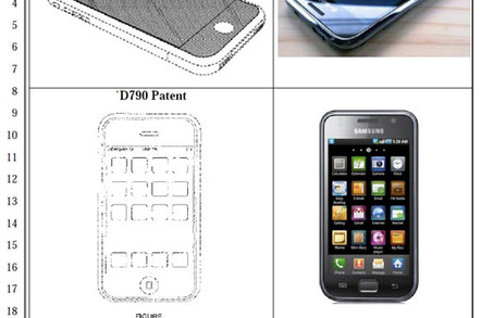 Apple design patents (right) and Samsung smartphones (left)