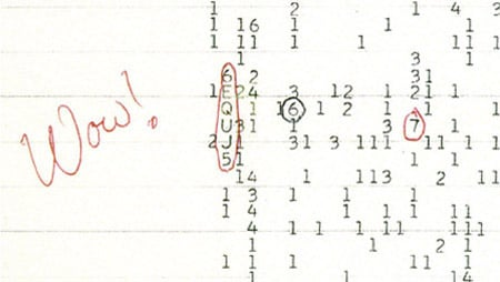 Wow! signal printout, photo: The Ohio State University Radio Observatory and the North American AstroPhysical Observatory