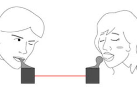 Illustration for Kajimoto Laboratory's 'kissing machine' project