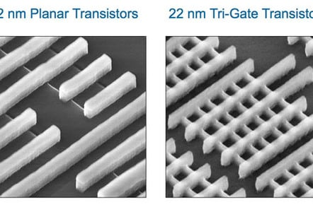 Intel electron-microscope photo: planer 32nm versus tri-gate 22nm