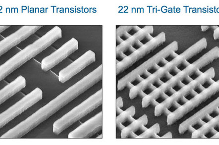 Intel electron-microscope photo: planer 32nm versus tri-gate 22nm