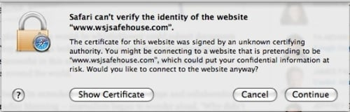SafeHouse certificate fail