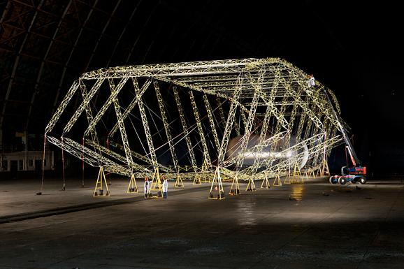 Concept pic showing assembly of an Aeroscraft airship. Credit: Aeros