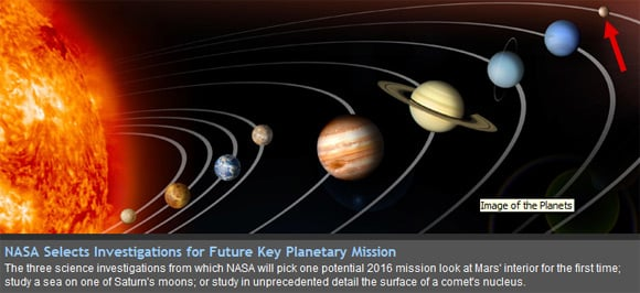 NASA graphic of the planets, including Pluto