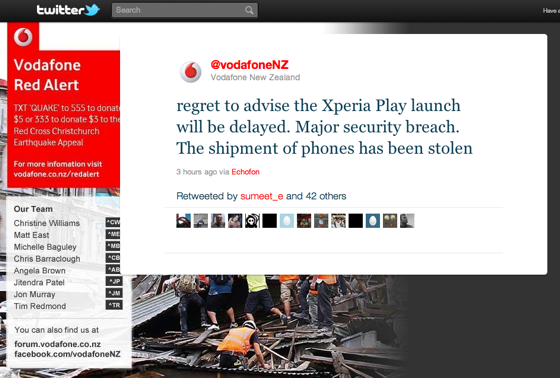 Vodafone NZ Tweet