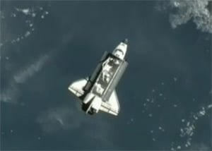 Endeavour, as seen from the ISS earlier today. Pic: NASA TV