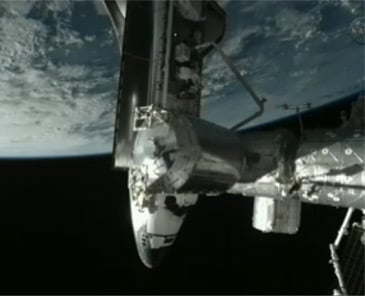 Endeavour docked with the ISS. Pic: NASA TV