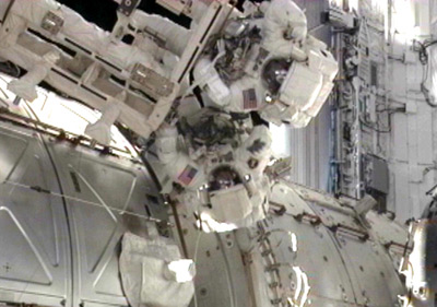 Drew Feustel and Mike Fincke outside the ISS on today's spacewalk. Pic: NASA